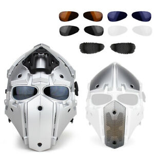 Full Face Hunting Protective Mask Tactical Airsoft Helmet w 4 Pairs Goggles BK $109.99