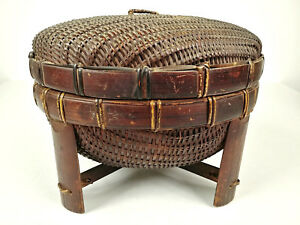 Antique Chinese Sewing Basket Betty Lou Collection Footed Csb 125
