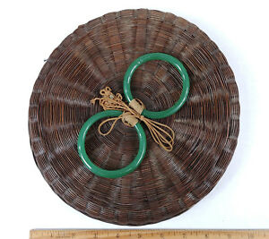 Antique Chinese Sewing Basket Betty Lou Collection Jade Green Bangles Csb 126