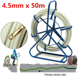 Fish Tape 6mm Fiberglass Wire Cable Running Rod Duct Rodder Puller 50mx4 5mm
