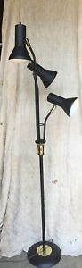Vtg Mid Century Modern Funky 3 Headed Floor Lamp Light Retro Black Cone Atomic