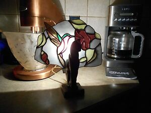 Art Deco Vintage Rare Solid Metal Cat Fan Light Stained Glass