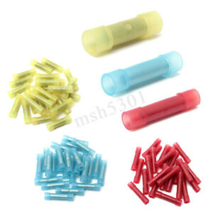 12 10 16 14 22 18awg Electrical Heat Shrink Butt Wire Crimp Connector Tube Lot