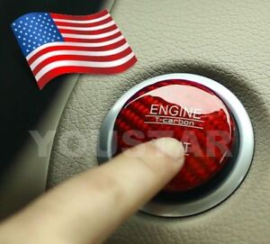 Direct Fit Red Engine Start Push Button Cap Keyless Go For Mercedes Real Carbon