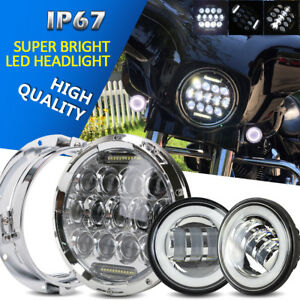 Dot 7 Motorcycle Led Projector Headlight 4 5 Passing Lights Harley Tour Glide