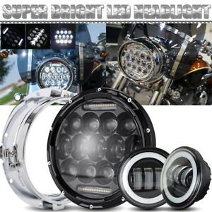 Harley Touring 7 Led Projector Headlight Passing Lights Black 3pack