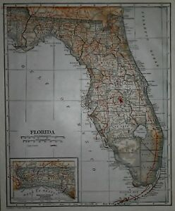 Antique1921 World Atlas Map Florida Fl Connecticut Ct Post World War Ww L K