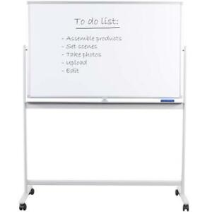Double Sided Mobile Magnetic Whiteboard Dry Erase Locking Stand Presentation