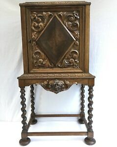 Antique English Oak Carved Barley Twist Liquor Wine Humidor Storage Cabinet