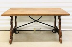 Antique Catalan Spanish Oak Wrought Iron Coffee Table End Table Occasional Table