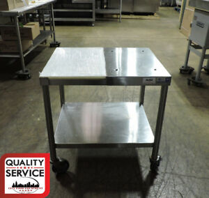 Commercial Stainless Steel Used Work Table 24 x30 W Polyboard On Casters