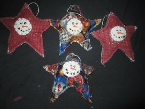 Primitive Hanging Snowman Stars Winter Christmas
