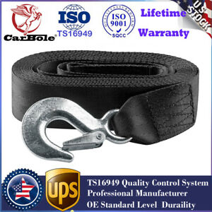 Heavy Duty Tow Winch Strap 2 X 20 Rope With Snap Hook Car Boat Towing Trailer
