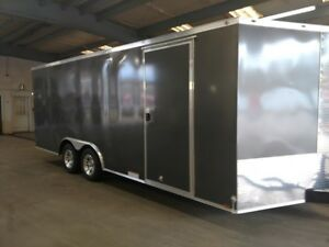 New 8 5x16 Charcoal Gray Enclosed Cargo Trailer