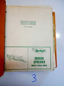Badger Manure Spreader Forage Boxes Running Gear Parts Operator s Manual Binder