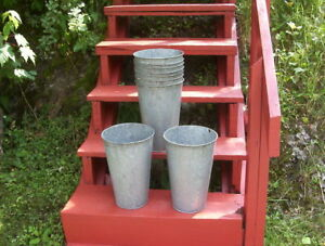 16 Vintage Old Galvanized Maple Syrup Sap Buckets Tapered
