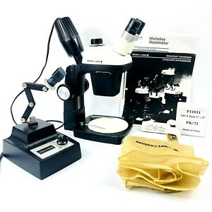 Bausch Lomb Stereo Zoom 4 Microscope On A Stand W Nicholas Illuminator Extras