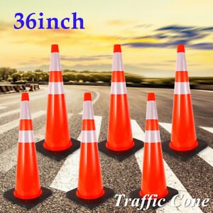 6pc 36 Reflective Strip Traffic Cones Safety Road Cones Fluorescent Red Parking