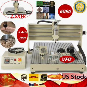 4 Axis 6090 110 220v Usb 1 5kw Vfd Cnc Router Engraving Milling Machine