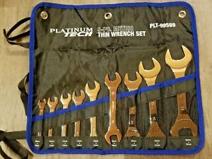 Platinum Tech 9pc Metric Super Thin Open End Wrench Set 8 32mm Roll Pouch 99589