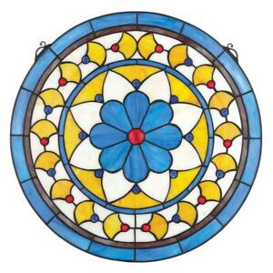 Victorian Blue Flower Stained Glass Window