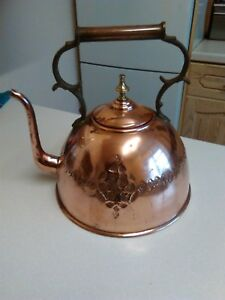 Vintage Large Copper Bell Shaped Kettle With Bronze Brass Handle 1600