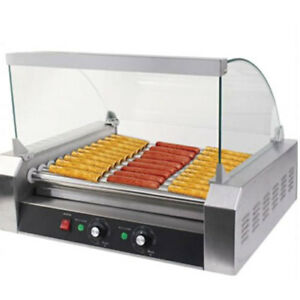 New Quality Commercial 30 Hot Dog Hotdog 11 Roller Grill Cooker Machine W Cover