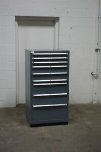 Used Lista 9 Drawer Cabinet 54 Tall Industrial Storage 1622 Vidmar