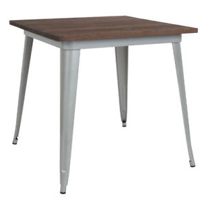 31 5 Square Silver Metal Restaurant Table With Walnut Wood Top Cafe Table