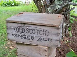 Old Vintage Wood Box Crate W Lid Augusta Maine Chest Weather Patina Rust Hinge