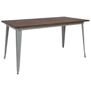 30 25 X 60 Rectangular Silver Metal Restaurant Table With Walnut Wood Top