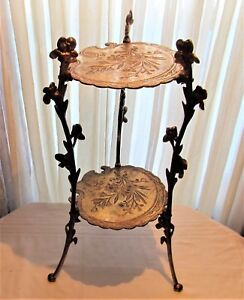 Antique Victorian Brass Plated Cast Iron Decorative Display Plant 2 Shelf Stand