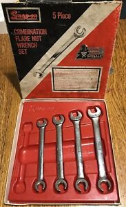 Snap On Tools Vintage 6 Point Open End Flare Nut Wrench Set 7 16 1 2 9 16 5 8