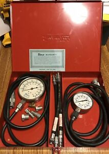 Vintage Snap On Tools Kilopascal Compression Tester Set W Metal Box