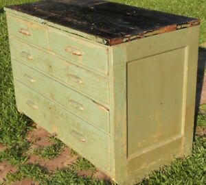 Painted 5 Drawer Wood Cabinet Shabby Mid Century Industrial Kitchen Island Work