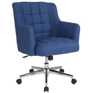 Laone Home And Office Upholstered Mid back Chair In Blue Fabric