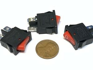 3 Pieces Red Slim Rocker Switch Spst 10a 12v Kcd1 110 Latch On Off 2 Pin C16