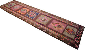 49 X 188 Inches Turkish Kilim Rug Hand Made Large Runner Long And Wide Runner