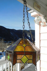 Vintage Hanging Leaded Stained Slag Glass Mission Style Swag Lamp Free Ship