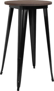 24 Round Black Metal Bar Height Restaurant Table With Walnut Wood Top
