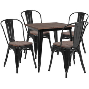 31 5 Square Black Metal Restaurant Table Set With Walnut Wood Top And 4 Chairs