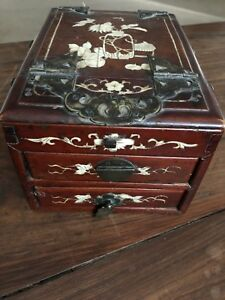 Antique Chinese Hardwood Jewelry Cosmetic Box W Mother Of Pearl Inlay Mirror