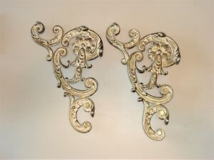Pair Of Antique Vintage Ornate Architectural Porch Corbels Scrolls Brackets 15