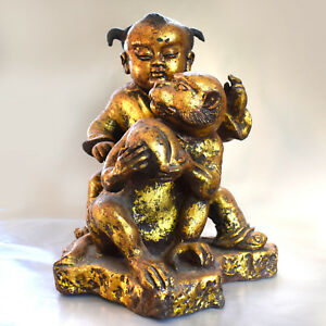 14 Tall Heavy Chinese Antique Gilded Cast Iron Statue Boy Monkey With Peac
