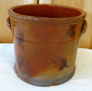 1 Gallon Manganese Splotch Decorated Redware Crock Good Looking Piece Of Redware