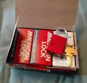 A1105kared Lot Of 6 American Lock Rectangle Padlock Red
