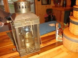 Vintage Nautical Maritime Neptune Brass And Copper Oil Lamp Very Nice