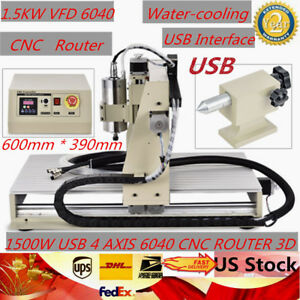 1500w Usb 4 Axis 6040 Cnc Router 3d Desktop Engraver Engraving Milling Machine