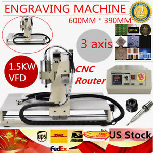 3 Axis 6040 1 5kw Vfd Cnc Router Engraver Engraving Milling Carving Machine Us