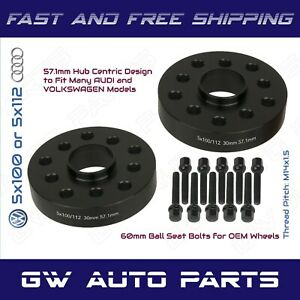 2 30mm 5x100 5x112 Audi Volkswagen Hub Centric Wheel Spacer Kit Ball Seat Bolts